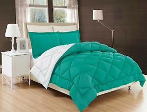 3-Piece-Reversible-Comforter-Set-Down-Alternative-Turquoise-White-All-Comfort