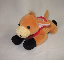 "Promised Land Dairy Brown Plush Cow Laying Down Red Scarf 8"" Soft Toy Stuffed"