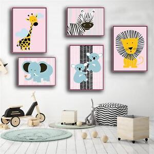 Image Is Loading Lion Elephant Cartoon Animal Poster Wall Art Prints
