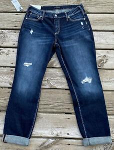 "Silver Boyfriend Slim Leg Mid Rise Jeans Denim 12 x 29 NWT New Indigo 10"" Rise"