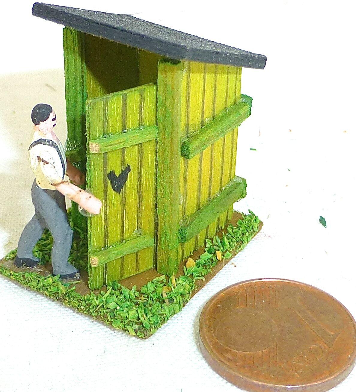 Plumpsklo Agreste Toilettenhaus con Agricoltore Legno Preiser 1 87 H0  GD1 PR5 Å
