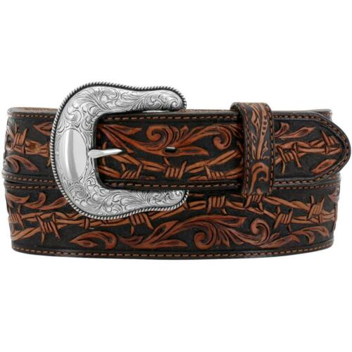 Tony Lama Western Mens Belt Leather Made in The USA Big Four Brown C42474