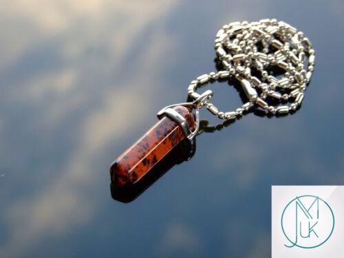 Obsidiana caoba punto Colgante Collar De Piedras Preciosas Naturales De Cristal Piedra de Curación