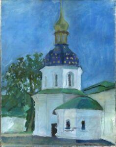 Russischer-Realist-Expressionist-Ol-Leinwand-034-Kirche-034-53x42-cm