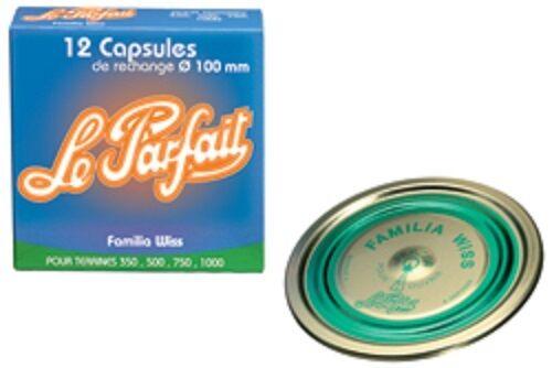 """12 capsules familia wiss /""""le parfait /"""" diamètres 100 mm"""