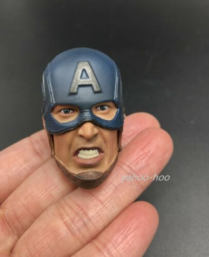 "1//6 Chris Evan Captain America Head Sculpt with 2 Face Expression For 12/"" Figure"