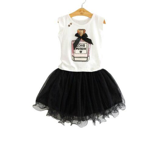 Toddler Kids Baby Girls Summer Outfits Clothes T-shirt Tops+Dress Skirt 2PCS Set