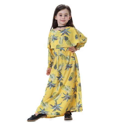 Floral Muslim Kids Girls Long Dress Kaftan Maxi Islamic Abaya Robe Arab Clothing