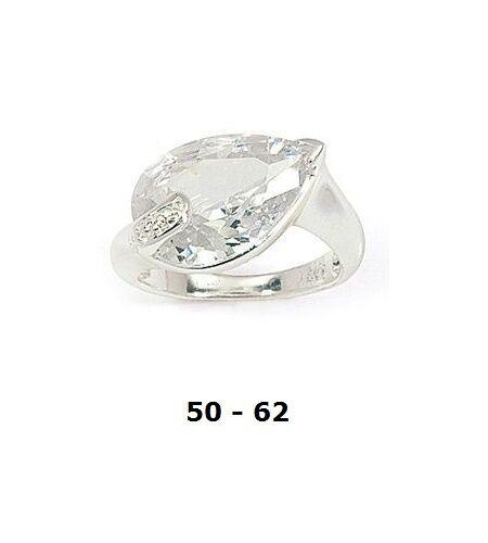 Dolly-Bijoux Bague Rhodié T50 Gros Diamant Cz en Amande 15//12 mm Argent 925