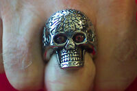 large Stainless Steel Skull Ring Red Eyes-sr4005-j