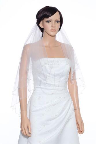 2 Layer Bridal White//Ivory Fingertip Crystal Beaded Scalloped Edge Wedding Veil