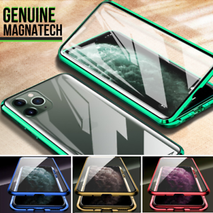 360-FRONT-BACK-GLASS-Magnetic-Phone-Metal-Case-For-i-Phone-11-PRO-MAX-X-XR-XS