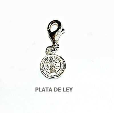 perlascarel Colgante Llave de San Benito y Cruz San Benito 2,5 cm Plata de Ley Doble Cara y Estuche