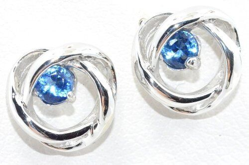 3mm Blue Sapphire Round Shape Stud Earrings White Gold Silver