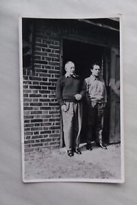Details about c1960 B/W Photograph  Two Men Pipe Smoking outside a Stable  Door  Broken Window