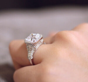 Image Is Loading 4 00 Ct Tw Halo Emerald Cut Engagement