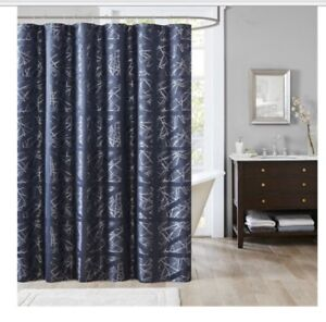 Image Is Loading MADISON PARK Dante Jacguard Shower Curtain Navy Blue