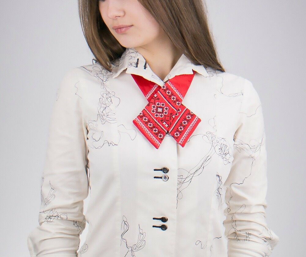 Fashion Adjustable Women Cross Bow Tie Embroidered Red Color