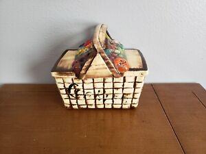Vintage-McCoy-Picnic-Basket-with-Fruit-Cookie-Jar-1962