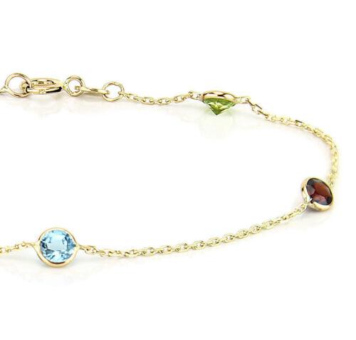 14K Yellow Gold Round Gemstones Anklet Bracelet 9.5 Inches