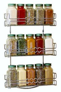 Kitchen RV 3 Tier Shelf Wall Mounted Spice Jar Rack Storage Cabinet Chrome Steel