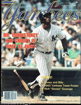Yankees Magazine October 13, 1983 Rich GOOSE Gossage Griffey Don Mattingly Exc.
