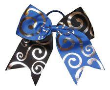 "NEW ""Silver Swirl BLUE & BLACK"" Cheer Bow Pony Tail Ribbon Hair Bow Cheerleading"