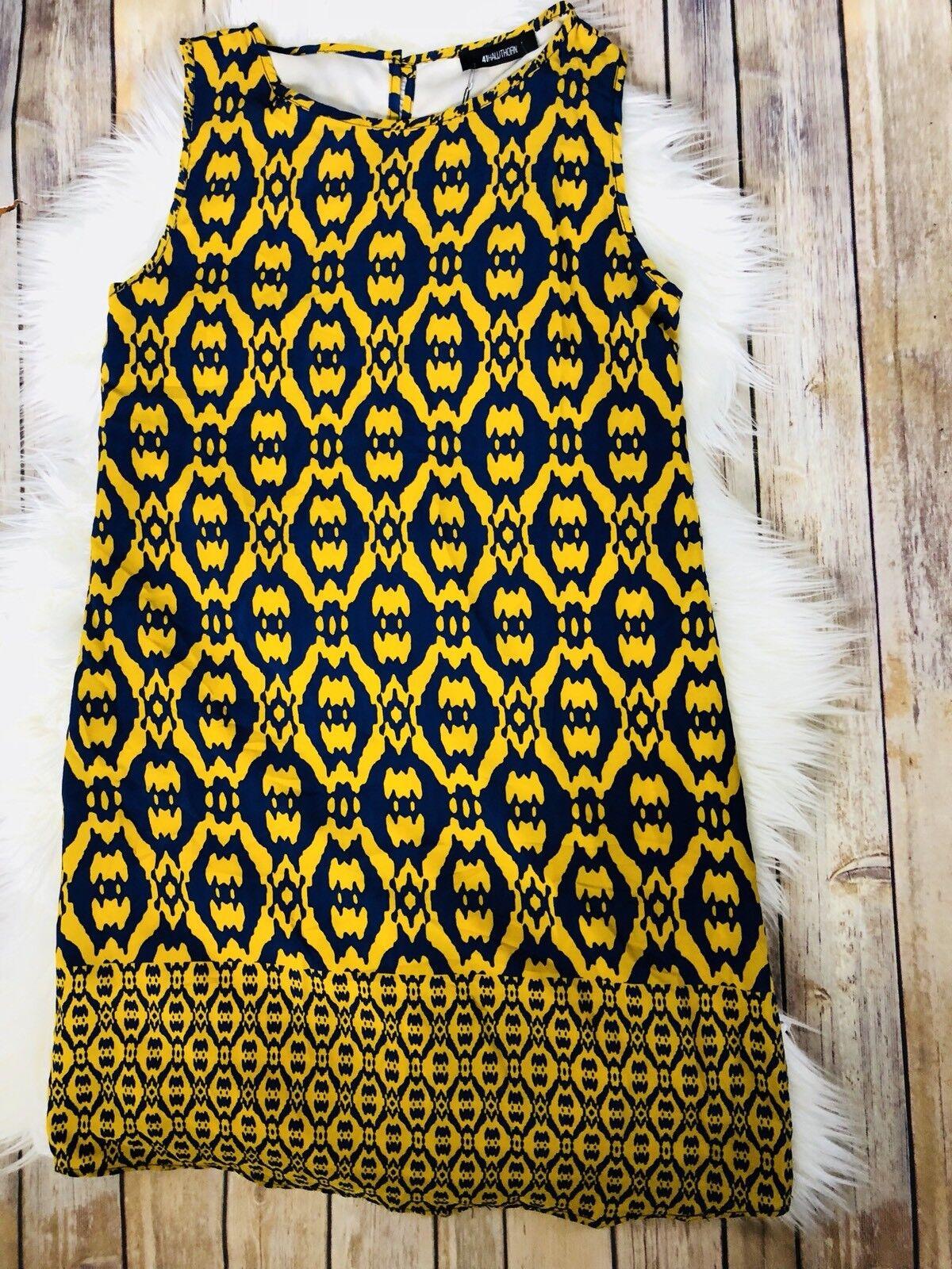 Stirch Fix 41Hawthorn bluee Mustard Devan sleeveless Printed Sheath Dress Size S