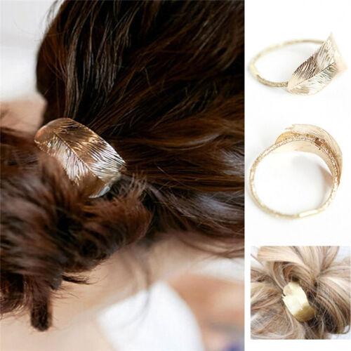 Fashion Femmes Lady Leaf Hair Ties Band Corde Serre-tête élastique Ponytail Holder EW