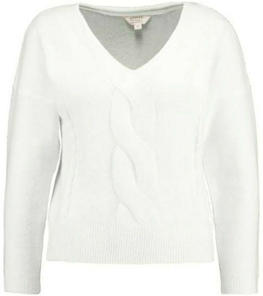 Miss Selfridge V Neck Cable Knit Pull Ivoire Taille Uk 8