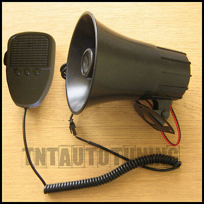 12V 60W Acoustic Car Horn Siren with Microphone Announcer 3 Alarm Sounds Tones