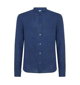 outlet store 4d374 ab682 Details about PEUTEREY uomo HOOPER LIN PPT 01 254 camicia lino blu collo  coreano