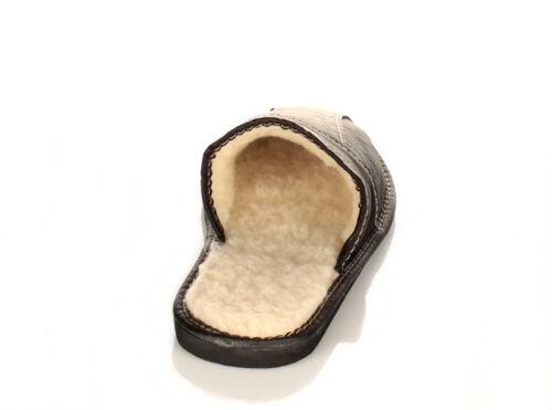 Bis Schuhgröße 50 Herren Leder warme Winter HausSchuhe Pantoffeln 40 bis 50 NEU