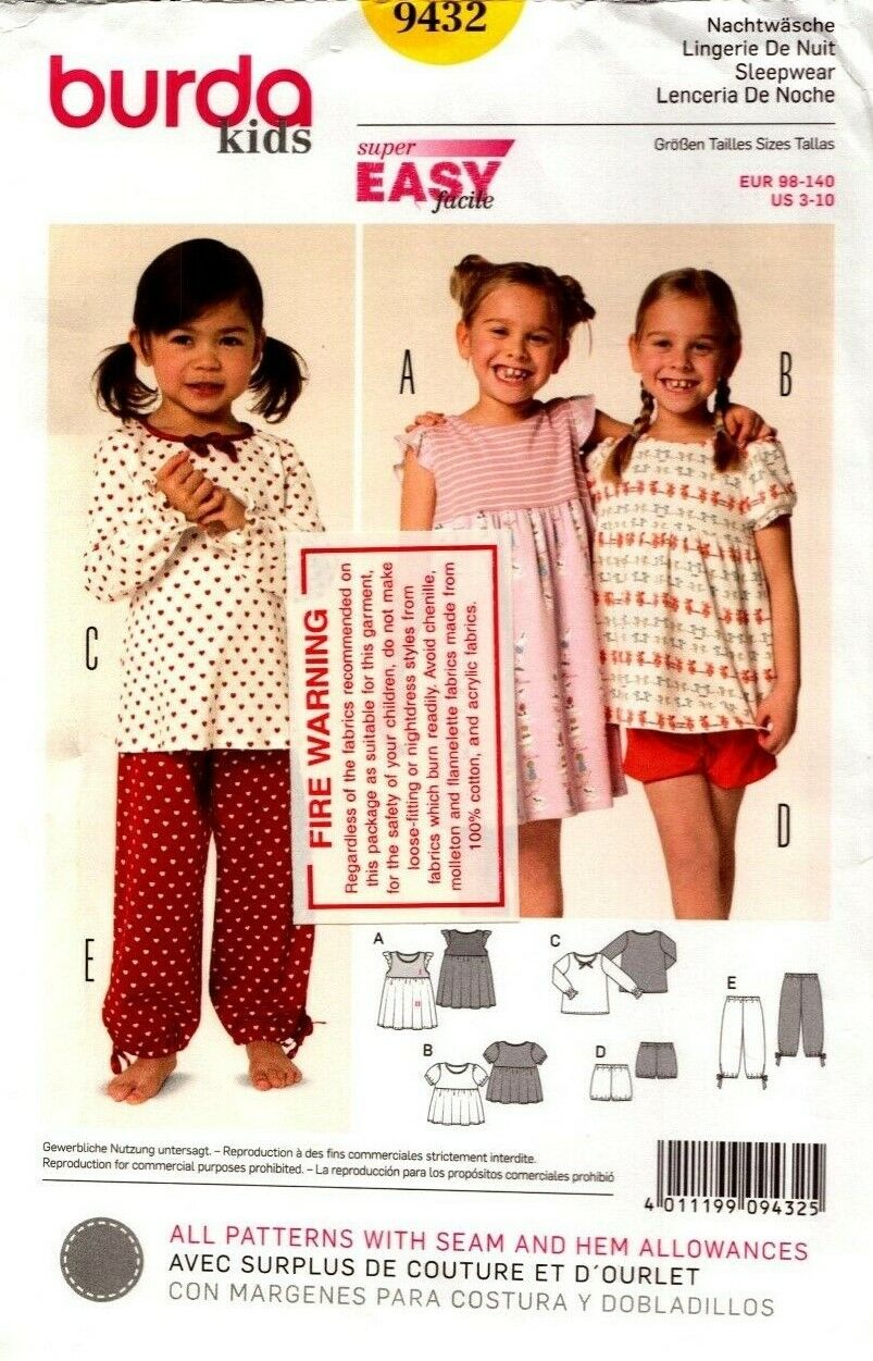 Burda Kids SEWING PATTERN 9429 Toddlers//Girls Coat Jacket,Hat Age 2-8