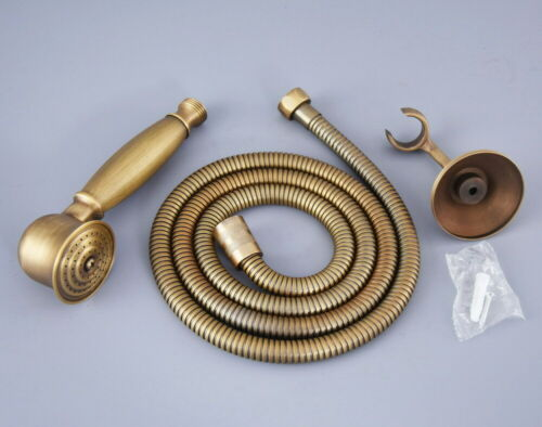 Antique Brass Bath Telephone Hand Held Shower Head and Hose and Bracket fhh120