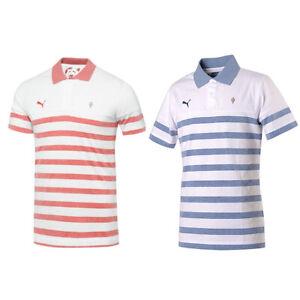 Arsenal-FC-Mens-Polo-Shirt-Puma-Red-Blue-Hooped-Slim-Football-Jersey-2014-15-S