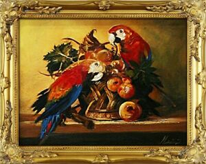 Painting-Parrot-Picture-Frame-Handmade-Oil-2606