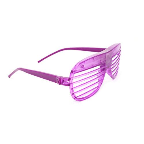 2 Purple Flashing LED Shutter Glasses Light Up Rave Slotted Party Glow Shades UK