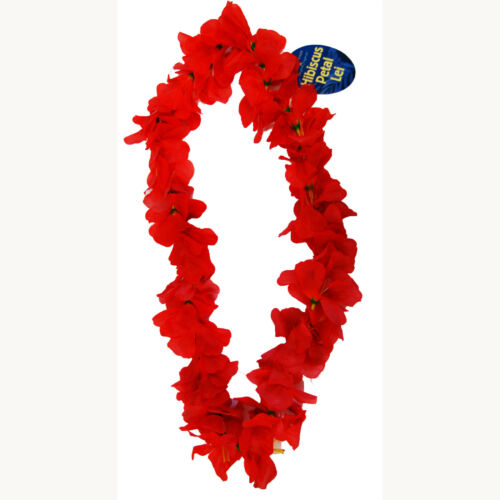 Yellow Luau Party Hibiscus Petal Lei Hawaiian Dress Floral Garland Purple Red