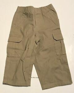 Faded Glory Baby Boy/'s 100/% Organic Cotton Dark Denim Cargo Pants 24M NEW