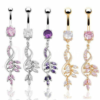 18K Gold Surgical Steel Crystal 14G Body Piercing Long Dangle Navel Ring Belly