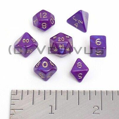 DICE - Mini INTERFERENZ PURPLE Shiny Gold Letter Set 7pc 7 Small D&D ** LAST ONE