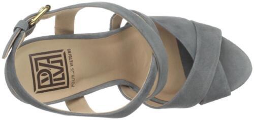 Pour La Victoire Women HIRO Grey Kid Suede crisscros Sandal High Heel Platform