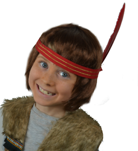 Boy Chief Children/'s Fancy Dress Indian Red Headband with Feather