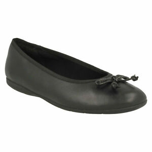 cuero Girls Clarks de Bow Zapatos On Tamaño Slip Ballerina Bow negro Shine Jesse Junior vEwxPwf