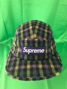 256920446e3 SUPREME Wool Plaid Camp Cap Purple box logo tnf loro pcl F W 15
