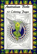 12 Pages Australian Birds Mandalas Adult Coloring PDF Download LozsArt Bird1