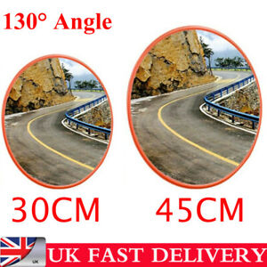 30//45cm 130° Wide Angle Security Curved Convex Road Mirror Traffic Driveway Safe
