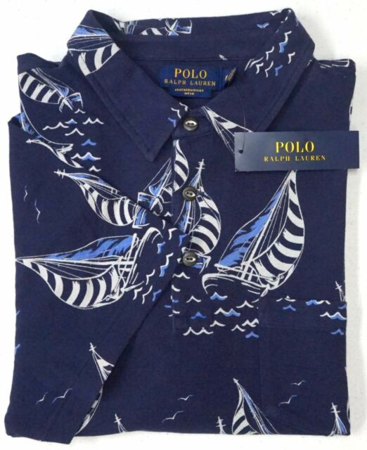 1a048f9d NWT $98 POLO Ralph Lauren Shirt Mens Featherweight Mesh Nautical Sailboats  Blue