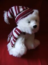 "RUSS BERRIE "" Peppermint ""  POLAR BEAR - 10"" - WHITE, PLUSH, SOFT TOY - VGC"